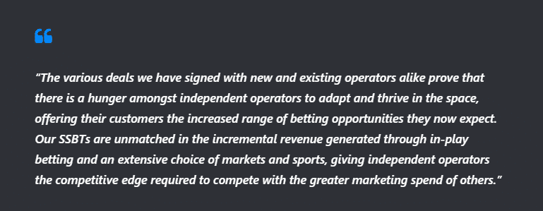 John Pettit, the managing director of Playtech BGT sports Said