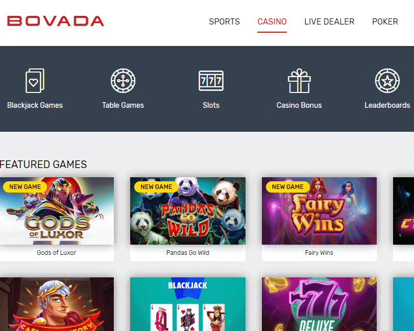 Featured games on Bovada