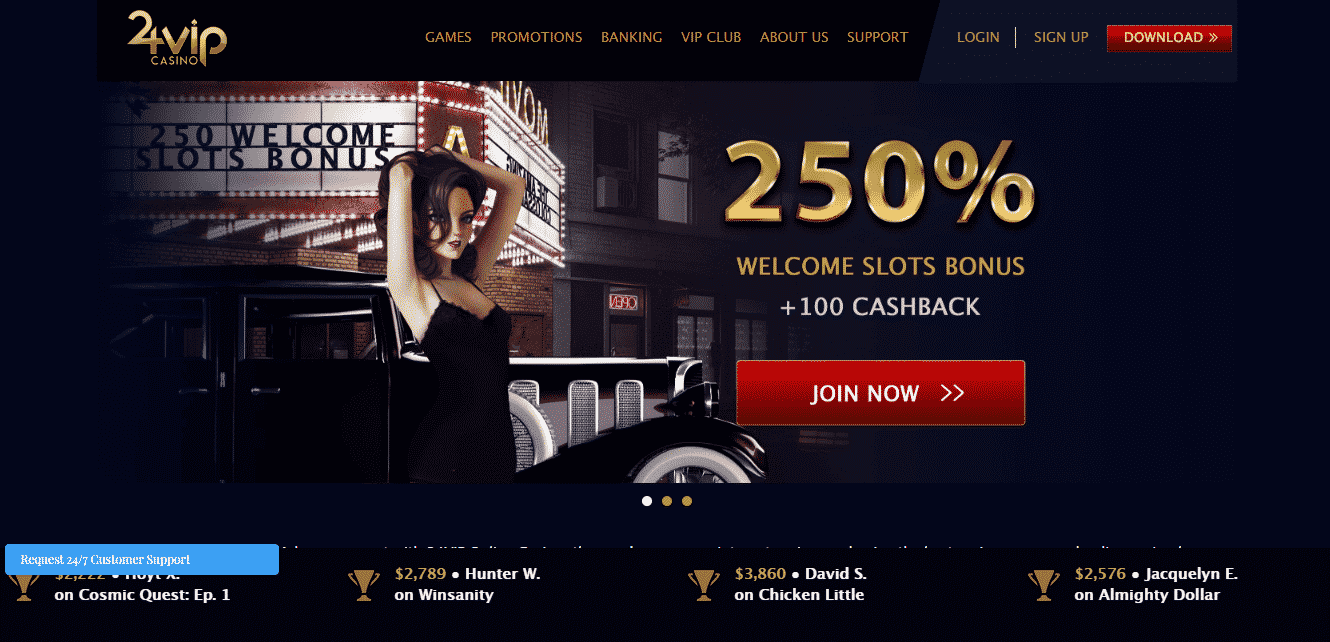 24VIP casino review - The interface