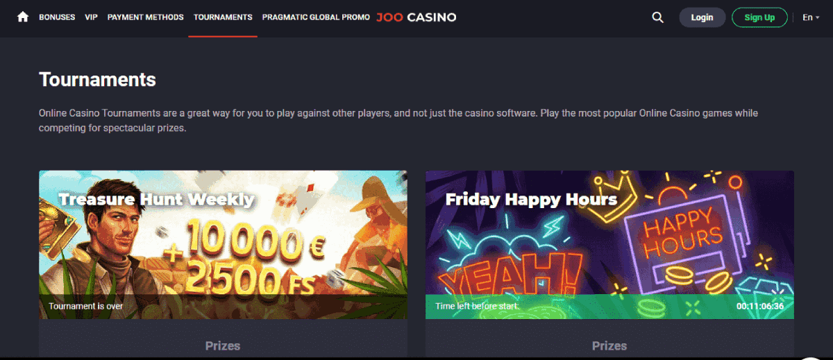 Joo casino review - The tournaments