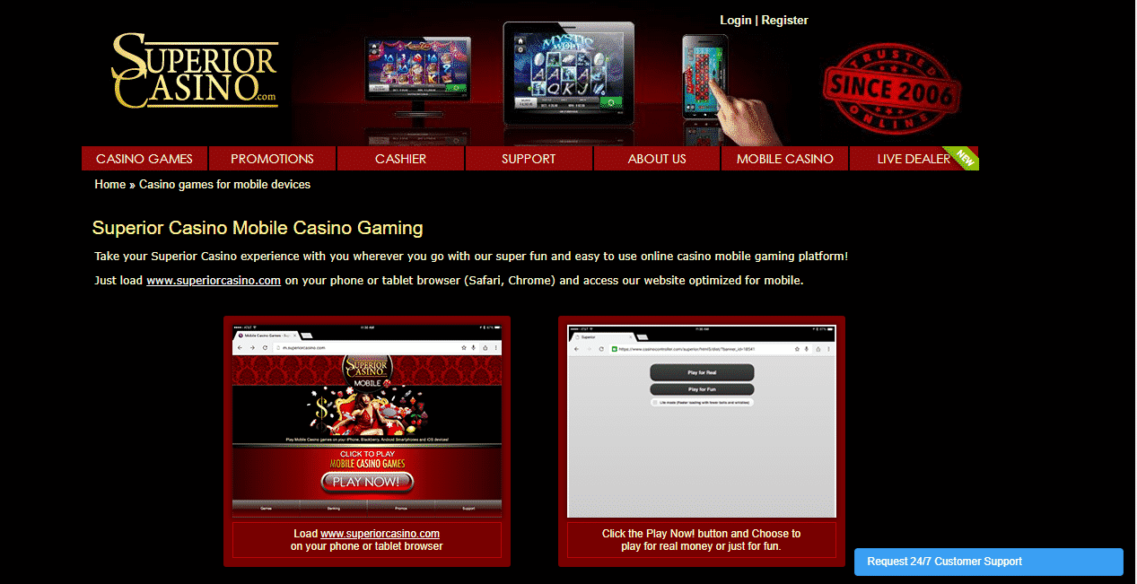 Superior Casino Reviews - The Mobile Casino Gaming Section