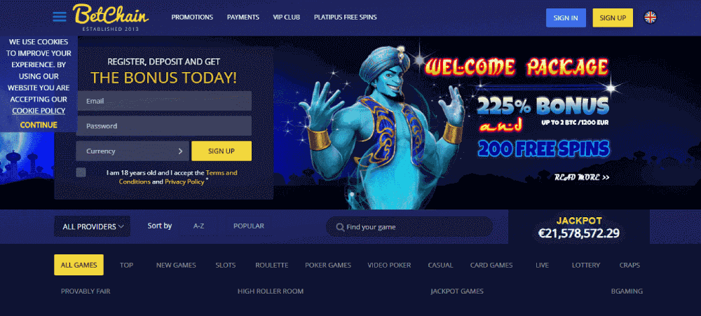 BetChain Casino Review - The interface of BetChain