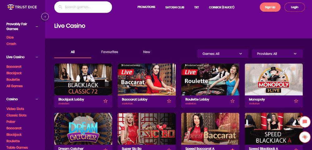 Trust Dice Casino Review - Le casino en direct