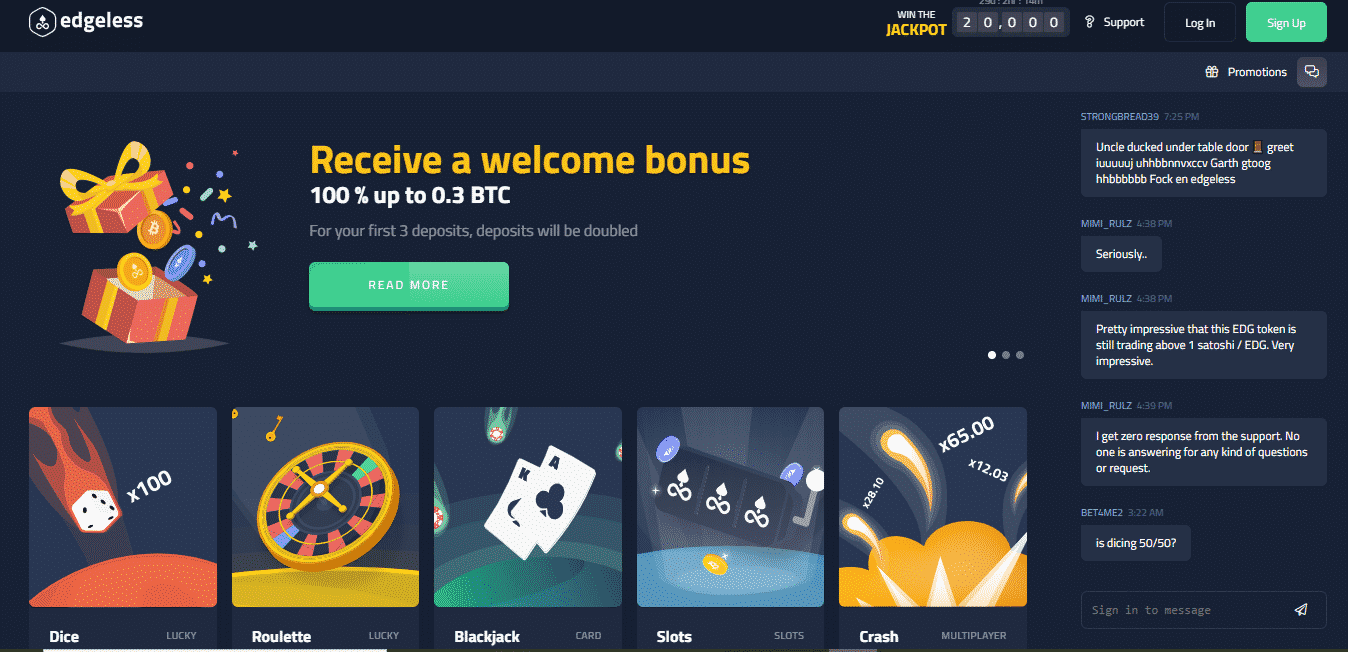 Edgeless Casino Review - The homepage