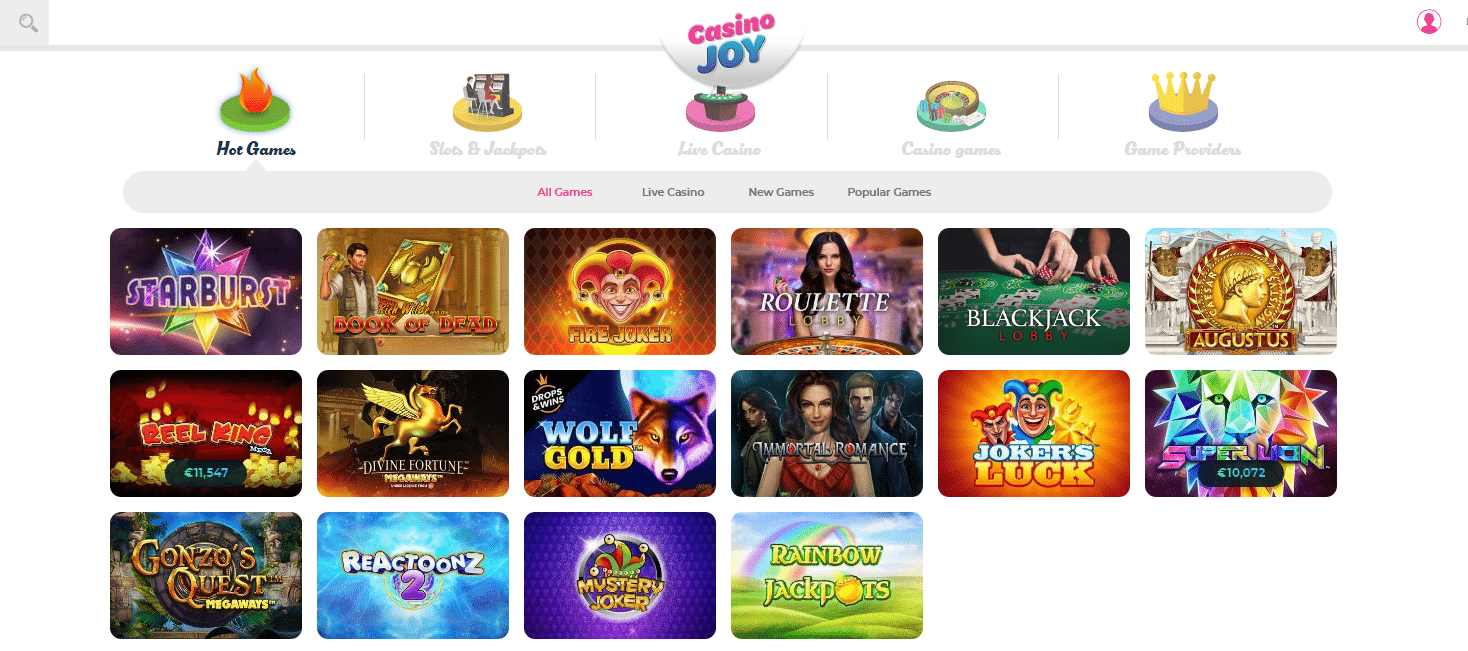 Casino Joy Description of Games