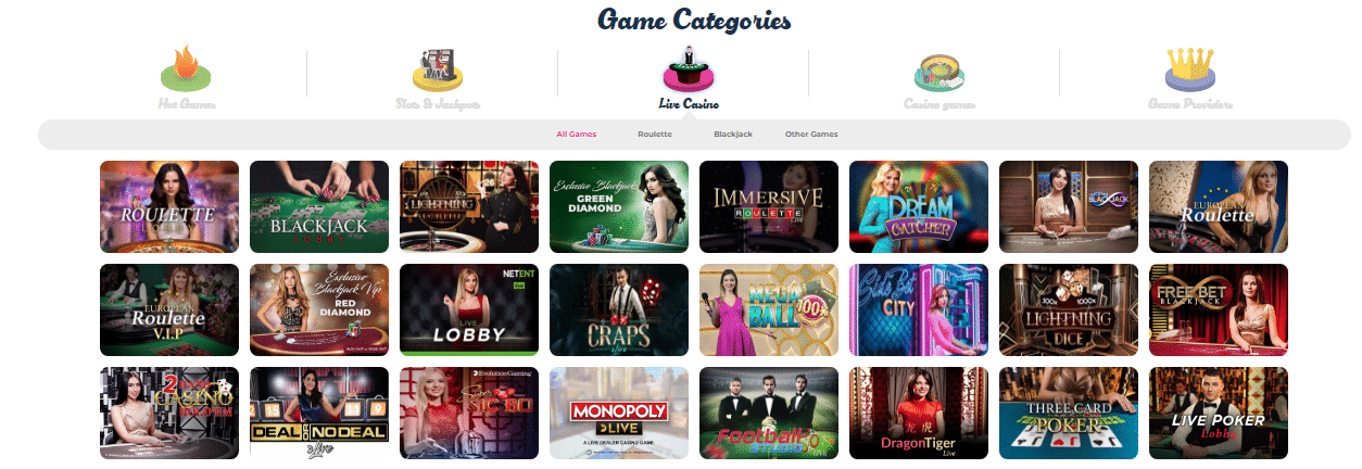 Casino Reviews Live Games at Casino Joy