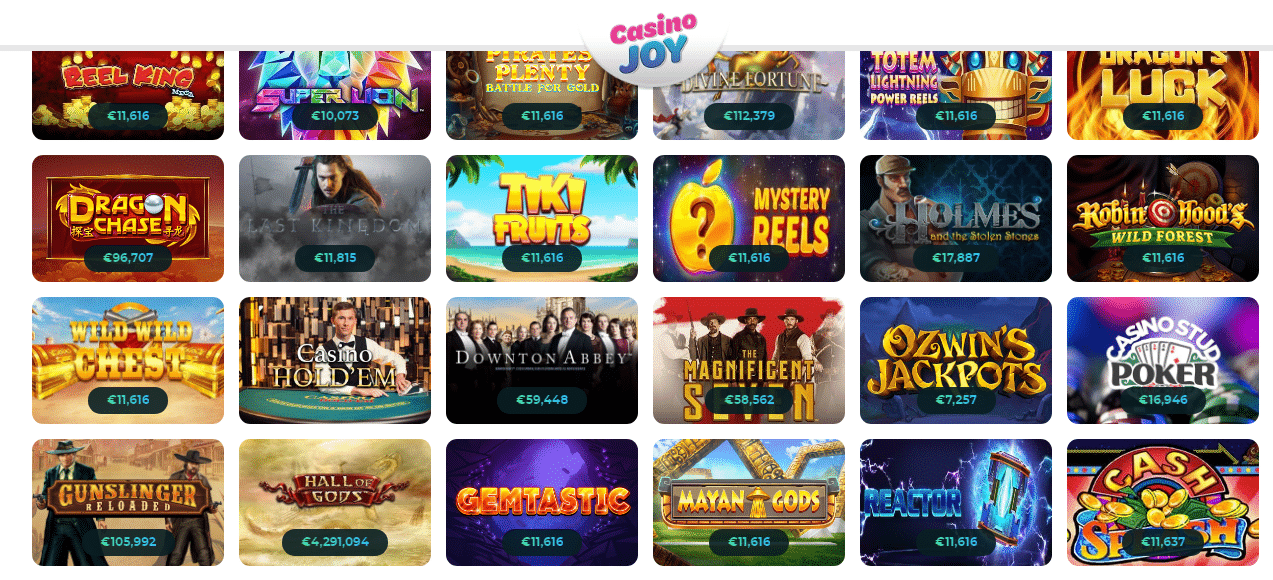 Jackpots available at Casino Joy
