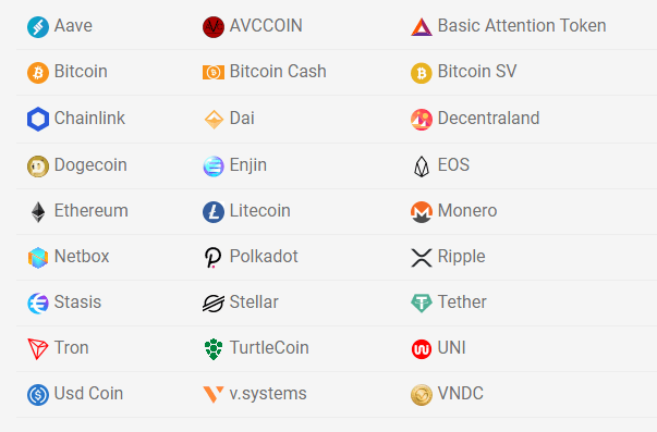 Accepted Digital Currencies
